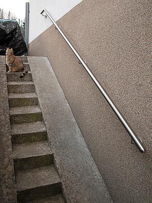 Edelstahl Handlauf an Kellertreppe mit gebogenen Handlaufanfang