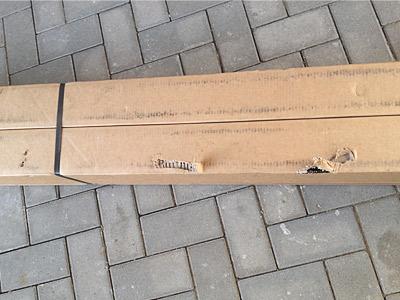 Handläufe im Langkarton verpackt nach Anlieferung