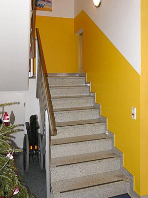 Treppenhaus, unterer Teil noch ohne Wandhandlauf