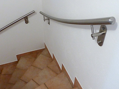 oberster Treppenhandlauf gewalzt für 2 mal viertelgewendelte Innentreppe
