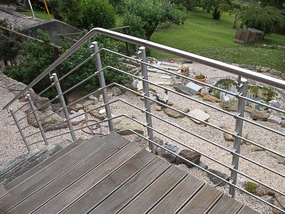 Treppengeländer für Außentreppe, in seitlicher Montage mit 6 Querstreben, Ansicht von oben