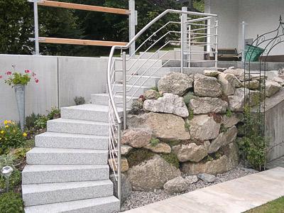 Treppengeländer für teilweise gewendelte Gartentreppe - Sicht auf gewendelten Handlauf