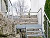 Geländerpfosten für Außentreppe für Geländerfüllung aus einem Edelstahl - Seilgeflecht