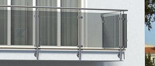 Balkongeländer aus Edelstahl mit Glas