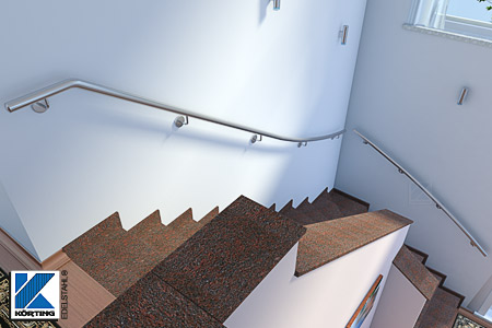 Edelstahl Handlauf Innen an viertelgewendelter Treppe zur Wandmontage