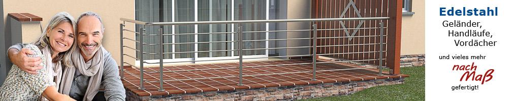 Körting Geländer aus Edelstahl für Terrassen in L-Form - Handlauf und Rundstähle nach Maß in einem Stück gebogen