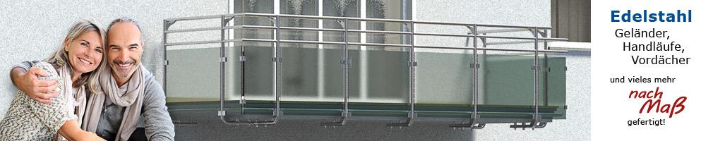 Körting Geländer aus Edelstahl für Balkon in U-Form - Geländerfüllung aus Glas, Handlauf 150 mm nach innen versetzt, Montage der Geländerpfosten unterseitig an der Balkonplatte