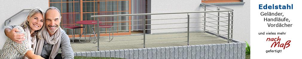 Körting Geländer aus Edelstahl für Terrassen - Handlauf und Querstreben in einem Stück gebogen