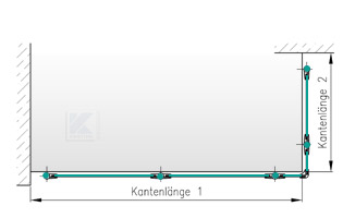 Balkongeländer Edelstahl - Grundriss in L-Form seitliche Montage