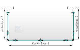 Balkongeländer Edelstahl - Grundriss in U-Form seitliche Montage