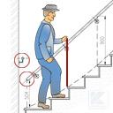 Zeichnung gerader Handlauf an viertelgewendeelter Treppe, Handlauf zu tief