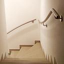 gewalzter Edelstahl Treppenhandlauf an viertelgewendelter Treppe