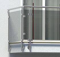 Balkongeländer aus Edelstahl in seitlicher Montage mit Glasfüllung