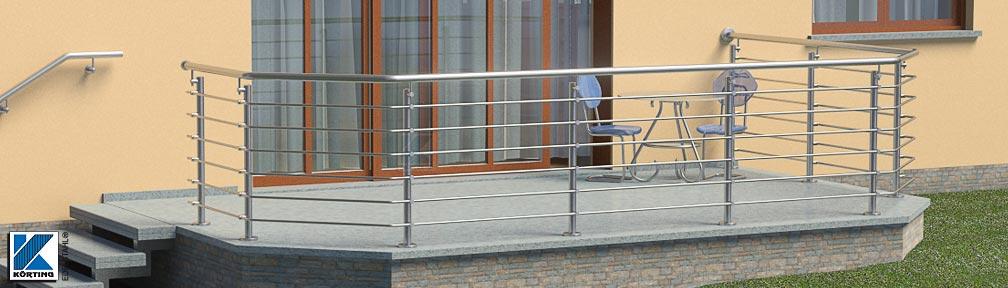 Edelstahl Geländer mit Füllung aus Querstreben, 45° Ecken