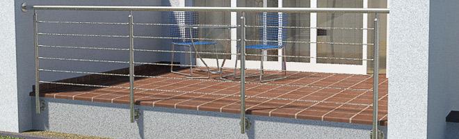 Terrassengeländer aus Edelstahl mit einer Füllung aus Edelstahlseilen