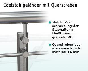 Edelstahlgeländer mit Querstreben - Stabhalter im System 25 , Füllung Rd 14 mm