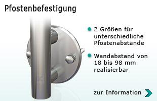 Pfostenbefestigung mit Wangenplatte 140 x 8 mm für Abstande von 18 bis 98 mm