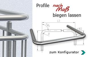 Profile aus Edelstahl nach Maß biegen oder walzen lassen und bestellen - zum Konfigurator