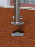 Geländerpfosten - Montage mit einbetonierten Bodenankern