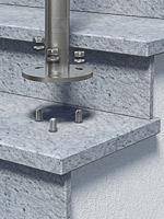 Geländerpfosten - Montage mit einer großen Bodenplatte