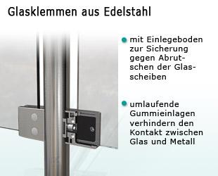 Glasklemmen mit Einlegeboden zur Sicherung der Geländerscheiben gegen Abrutschen