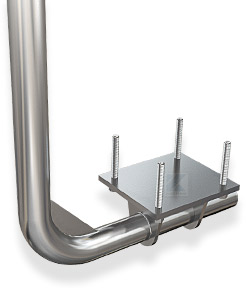 unterseitige Pfostenbefestigung mit Ankerplatte zum Verschweißen mit Rohr 48,3 mm
