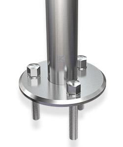 Pfostenbefestigung mit massiver Edelstahlronde 125 mm mit gedrehter Oberfläche und 45°-Fase