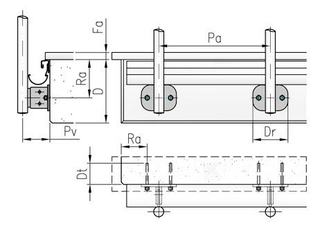 Randabstände und Pfostenabstände für Geländer in seitlicher Montage mit Stegplatten aus Edelstahl mit 2 Befestigungslöchern waagerecht angeordnet - verstellbar um 20 mm