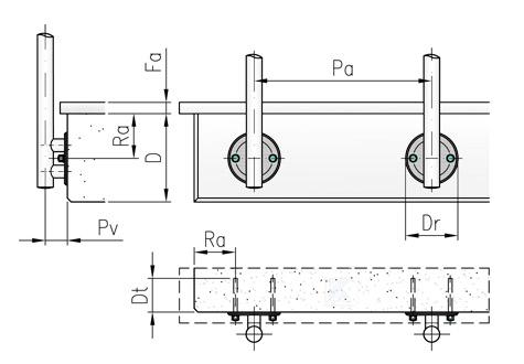 Randabstände und Pfostenabstände für Geländer in seitlicher Montage mit Platten aus Edelstahl mit 2 Befestigungslöchern waagerecht angeordnet