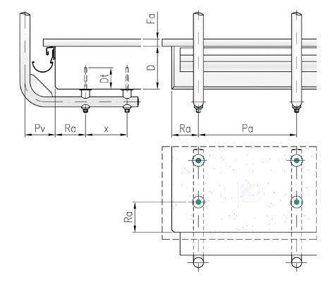 Randabstände und Pfostenabstände für Geländer in Montage unter der Balkonplatte mit Distanzstücken und Pfostenhaltern aus Edelstahl