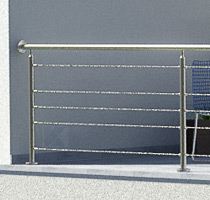Terrassengeländer aus Edelstahl in I-Form mit 6 mm Edelstahlseil, seitliche Montage