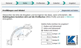 Edelstahlprofil Konfigurator - Edelstahlrohr walzen - Schritt Maße