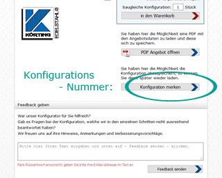Handlauf-Konfigurator: Schritt Angebot - Konfigurationsnummer merken