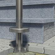Informationen zur richtigen Befestigung eines freistehenden Handlaufes - Darstellungsbeispiel: Schnittdarstellung der Montage mit einem Bodenanker aus Edelstahl