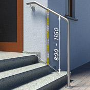 Die Handlaufhöhe sollte 900 mm betragen - Darstellung am Beispiel eines freistehenden Handlaufes mit Wandbefestigung
