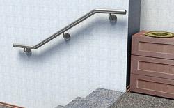Handlauf aus Edelstahl Preis für zweimal gebogenen Handlauf zur Wandmontage an einer Innentreppe