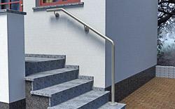 Handlauf aus Edelstahl Preis für Wand- und Stufenmontage an einer Außentreppe