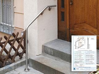 Aufmaßblätter für Handlauf aus Edelstahl zur Wand- und Bodenmontage