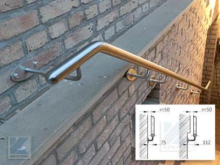 Handlauf aus Edelstahl an Kellertreppe - Verlängerung der Handlaufhalter wegen Mauervorsprung