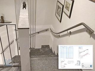 Treppenhandlauf aus Edelstahl an viertelgewendelter Treppe - Aufmaßblatt