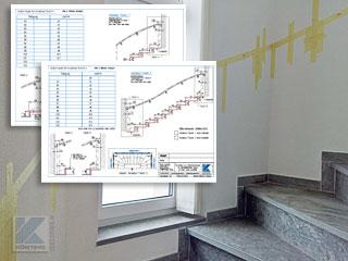 Treppenhandlauf innen an einer halbgewendelten Treppe, Aufmaßblätter für Handlauf Maße