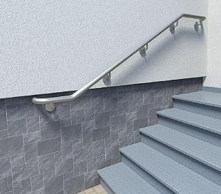 Handlauf auf der linken Seite der Treppe montiert, oberes und unteres Handlaufende waagerecht auslaufend