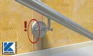 Handlaufhalter an einer Holzständerwand - Halter mit 2 waagerecht angeordneten Schrauben bei schmalen Balken nicht geeignet