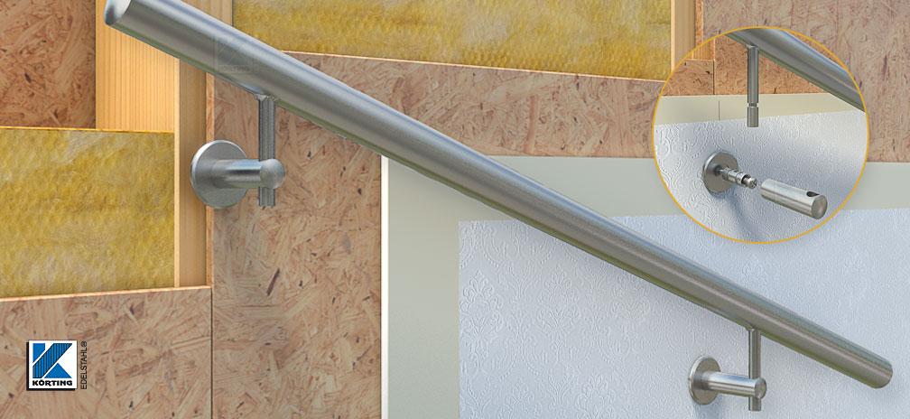 Handlauf an Trockenbauwand - Montagedetail Handlaufhalter für Holz, Handlaufhalter Abstand