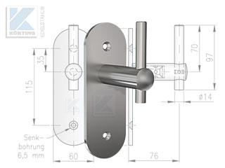 Handlaufhalter zur Befestigung an einer Trockenbauwand - Handlaufhalter 643-904 mit 2 senkrecht angeordneten Schrauben, besonders bei schmalen Holzbalken und Plattenbaustoffen geeignet