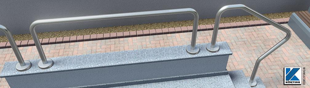 Edelstahl Handlauf freistehend gebogen - von Körting-Geländer auf Maß gefertigt