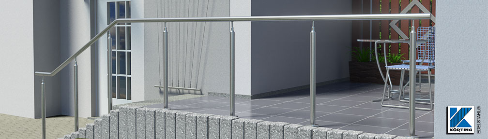 Handlauf aus Edelstahl freistehend mit Pfosten - von Körting-Geländer auf Maß gefertigt