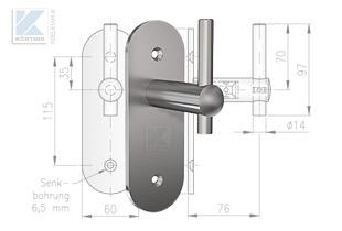 Hanflaufhalter für Plattenbaustoffe 643-904-14 mit Bohrungen für 6 mm Senkschrauben passend zum DOUTEC 12