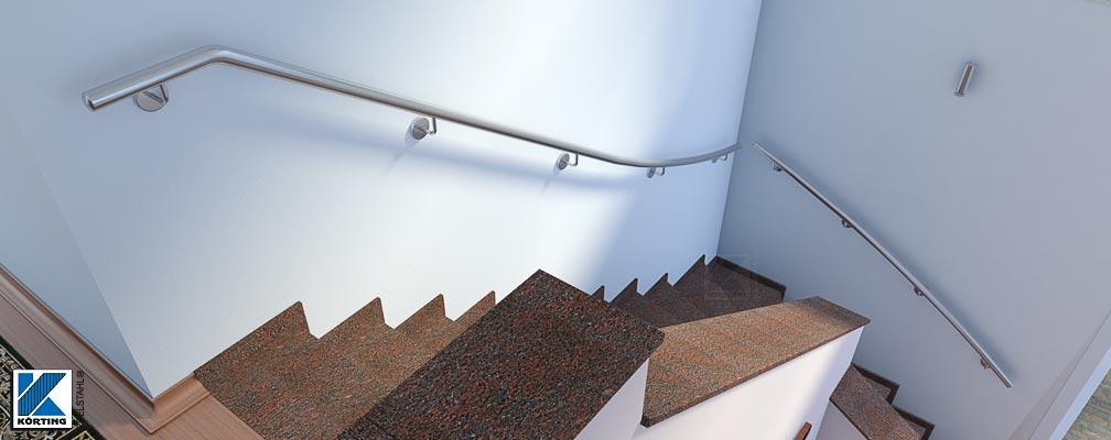 Treppenhandlauf für Innen, Treppenhandlauf für eine viertelgewendelte Innentreppe