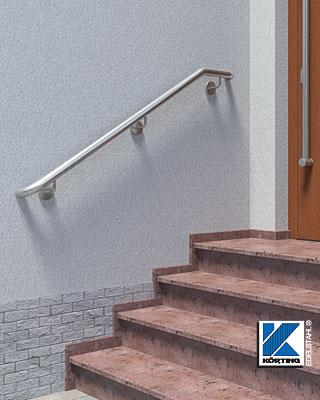 Treppenhandlauf aus Edelstahl außen zur Wandmontage - zu den Konfiguratoren für Wandhandläufe an Außtentreppen